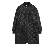 Quilted Leather Coat - Black