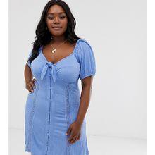ASOS DESIGN Curve - Sommerkleid mit Knoten vorne und Puffärmeln - Blau