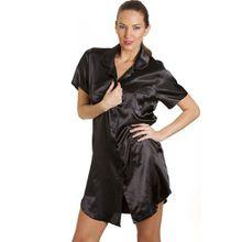 Damen Luxus-Nachthemd aus Satin - Knielang mit Knöpfen - Schwarz - Größen 38-50 40