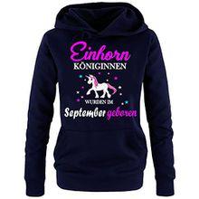 Einhorn Königinnen wurden im September geboren ! Damen HOODIE Sweatshirt mit Kapuze Navy, Gr.M