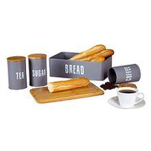 Novel Solutions Retro-Brotkasten Plus Kaffee, Tee-und Zuckerkanister-Kombination mit Eco-Bambusdeckeln, Metall, Naturgrau, 33.5 x 21.5 x 12 cm