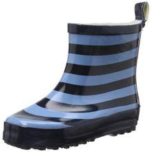 Playshoes Ringel nieder 180365, Unisex-Kinder Kurzschaft Gummistiefel mit Reflektoren, Blau (marine/hellblau 639), 21 EU