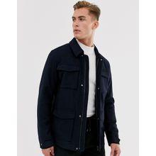Selected Homme – Feldjacke aus Wolle mit aufgenähten Taschen-Navy