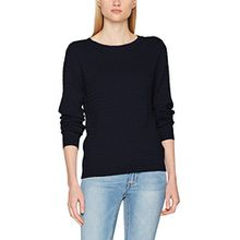 TOM TAILOR Damen Pullover Feminine Cable Sweater, Blau (Real Navy Blue 6593), Large
