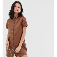 Wednesday's Girl - Legeres Hemdkleid aus Kunstleder - Braun