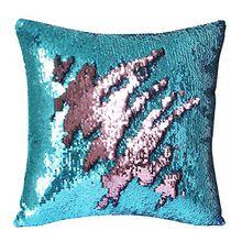 AIZESI Kissenbezüge 40x40 Zierkissenbezüge Meerjungfrau Schlafzimmer Zweifarbigewendbare Pailletten