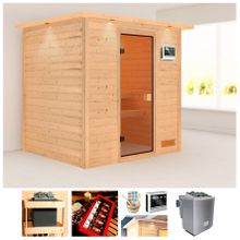 KARIBU Sauna »Wangerooge«, 224x184x191 cm, 9 kW Bio-Kombiofen mit ext. Strg., Dachkranz