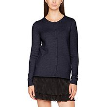 Vila CLOTHES Damen Strickjacke Viril L/S Knit Cardigan-Noos, Blau (Total Eclipse Detail:Melange), 36 (Herstellergröße: S)