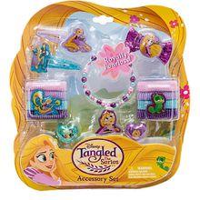 Rapunzel Schmuckset mit 2 Glitzerhaarspangen, 8 Haarbänder, Armband, 2 Ringen, eine Haarmasche 20x22 cm