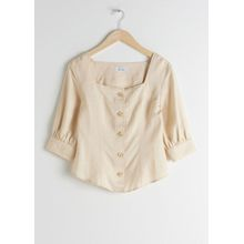 Linen Blend Square Neck Top - Beige