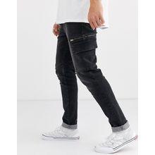 ASOS DESIGN – Schmale Stretch-Jeans mit Cargo-Taschen in verwaschenem Schwarz