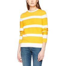 Tommy Hilfiger Damen Pullover WW0WW21127, Gelb (Radiant Yellow/Snow White 901), 38 (Herstellergröße: M)