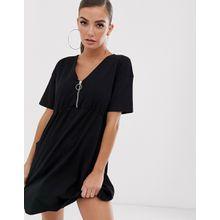 ASOS DESIGN - Hängerkleid mit Taschen und Reißverschluss vorne - Schwarz