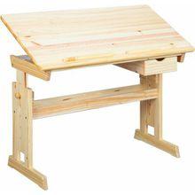 Schreibtisch TONJA, höhenverstellbar, Kiefer massiv, natur lackiert holzfarben