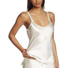 Palmers Damen Schlafanzugoberteil Shirt Silky Nights, Einfarbig, Gr. 44 (Herstellergröße: L (44-46)), Elfenbein (Pearl 224)