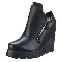Damen Schuhe, CL-1024, Stiefeletten, Plateau WEDEGES, Synthetik in Hochwertiger Lederoptik, Schwarz, Gr 40