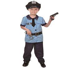 NiSeng faschingskostüm polizistin kinderkostüme Polizei Kostüm für Kinder mit Mütze Handschellen und Gewehr Blau S(Größe 95-110cm)
