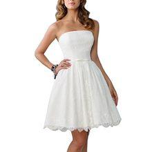 Dream Bride Damen A-Linie Spitze Band-Gurt Kurz Brautkleid Hochzeitskleid, Groesse 36, Weiss