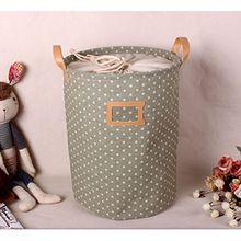 ALLTOP premium cartoon foldable cotton line Wäschekorb Klapp Kinder Spielzeug organizer Spielzeug aufbewahrung Spielzeug Warenkorb Kleidung Halter wäschebox mit Deckel gepunktet, Grün