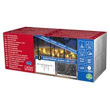 Konstsmide 4611-107 LED Hightech System Erweiterung/Lichtervorhang Eisregen/für Außen (IP44)/100 warm weiße Dioden/schwarzes Softkabel