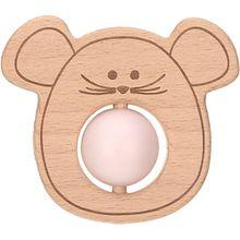 Greifling und Beißring mit Silikonkugel, 2 in 1, Holz/Silikon, Little Chums Mouse rosa