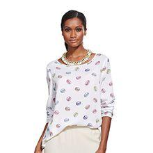 Damen Blusenshirt mit Macaron-Print und Rundhalsausschnitt by Alba Moda White
