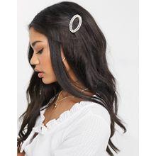 South Beach – Ovaler Haarschmuck mit Perlenverzierung-Cremeweiß