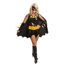 aimerfeel Damen Superhelden Batgirl Kostüm Outfit Cape und Maske, Größe: 36-38