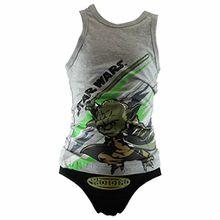 Star Wars - Jungen Unterwäsche Set mit Hemd und Slip in 2 Farben und 3 Größen, Farbe:grau/schwarz;Größe:98/104