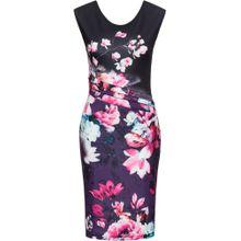 Bonprix Blumenkleid lila / schwarz / weiß