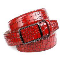 Anthoni Crown Ledergürtel mit Krokomuster Ledergürtel rot Herren