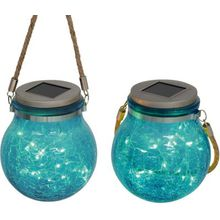 Näve 2er-Set Solar-Dekoleuchte blau