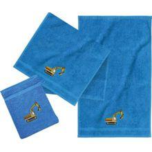 myToys Frottierset, 2 Handtücher & 1 Waschlappen, Bagger, blau