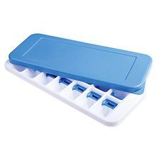 Qearly Home Silikon Eiswuerfel Form Ice Cube Tray Mit Deckel-Blau