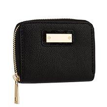SIX Basic kleines schwarzes Damen Portemonnaie, kompakt für die Handtasche mit goldener Plakette und Felldetail, fake fur, Geldbörse (419-916)