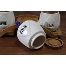 Set von 3Tee-, Kaffee- und Zucker-Aufbewahrungsdosen aus Keramik mit Bambus-Deckel mit einer luftdichten Gummidichtung