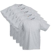 5 Fruit of the loom Kinder T-Shirts Valueweight 104 116 128 140 152 Diverse Farbsets auswählbar 100% Baumwolle (164, Grau)