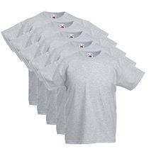 5 Fruit of the loom Kinder T-Shirts Valueweight 104 116 128 140 152 Diverse Farbsets auswählbar 100% Baumwolle (164, Grau)