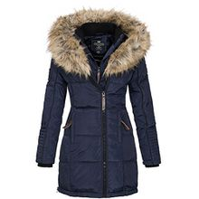 Geographical Norway Damen Jacke Winterparka Belissima XL-Fellkapuze navy XXL