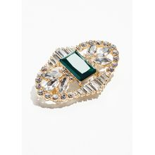 Crystal Brooch With Large Gem - Green