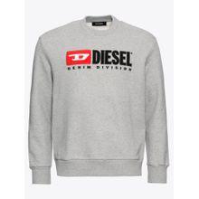 DIESEL Sweatshirt 'S-CREW-DIVISION SWEAT-SHIRT' graumeliert / rot / schwarz