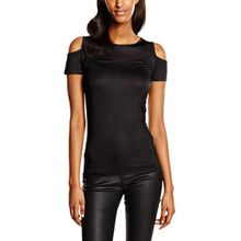 Urban Classics Damen T-Shirt Ladies Cutted Shoulder Tee, Schwarz (Black 7), Medium