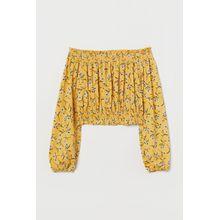H & M - Off-Shoulder-Shirt - Yellow - Damen