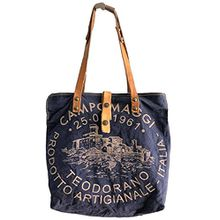 Campomaggi Damen Shopper Canvas Blau Leder Schultertasche One Size