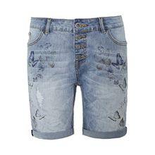 Rock Angel Damen Jeans Bermuda ROSIE | Kurze Hose aus hochwertigem Denim | Elegante Jeans-Shorts mit Print middle-blue XS