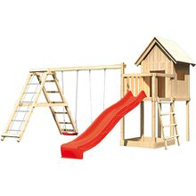 Spielturm Frieda mit Anbau, Satteldach, Gerüst, Doppelschaukel und Rutsche rot
