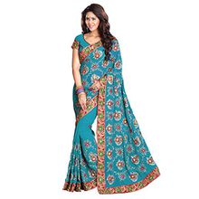 Mirchi Fashion Women's Heavy Embroidery Work Designer Sari mit Ungesteckt Bluse/Top Bridal Wedding saree