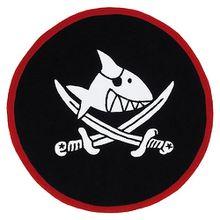 Kinderteppich Capt`n Sharky, rund, schwarz, 130 cm schwarz/rot