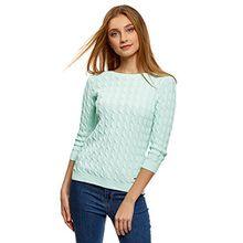 oodji Ultra Damen Pullover mit Zopfmuster und U-Boot-Ausschnitt, Grün, DE 40 / EU 42 / L