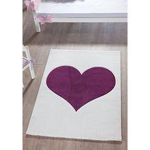 Kinderteppich Herz, weiß/lila, 170 x 120 cm
